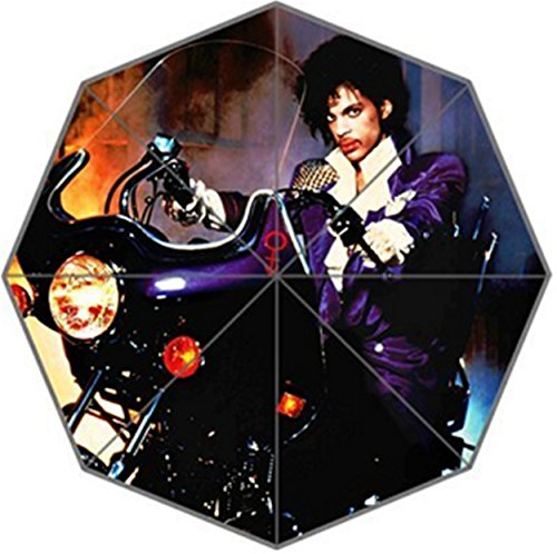 Angelinana Prince Purple Pattern Custom Foldable Sun Rain Umbrella Wind Resistant Windproof Floding Travel Umbrella