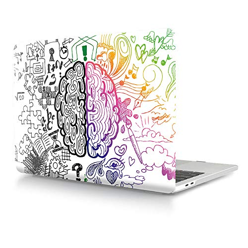 (HRH Graffiti Left and Right Brain Laptop Body Shell Protective Hard Case for MacBook Pro 15 Case 2018 2017 2016 Release A1990/A1707 with Touch Bar)