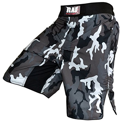 RAD MMA Fight Shorts Grappling Short Kick Boxing Cage Fighting Shorts White Camouflage (Medium)