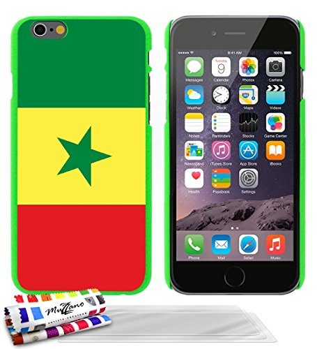 Ultraflache weiche Schutzhülle APPLE IPHONE 6 4.7 POUCES  [Flagge Senegal] [Grun] von MUZZANO + 3 Display-Schutzfolien UltraClear + STIFT und MICROFASERTUCH MUZZANO® GRATIS - Das ULTIMATIVE, ELEGANTE