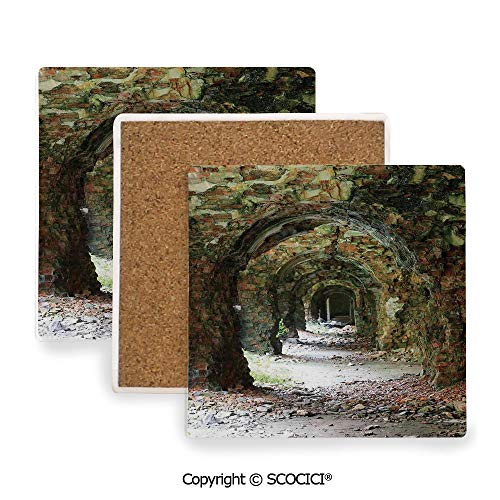 (Ceramic Coaster With Cork Mat on the back side, Tabletop Protection for Any Table Type, Square coaster,Rustic Home Decor,Ruins of Arched Medieval Period Brick,3.9
