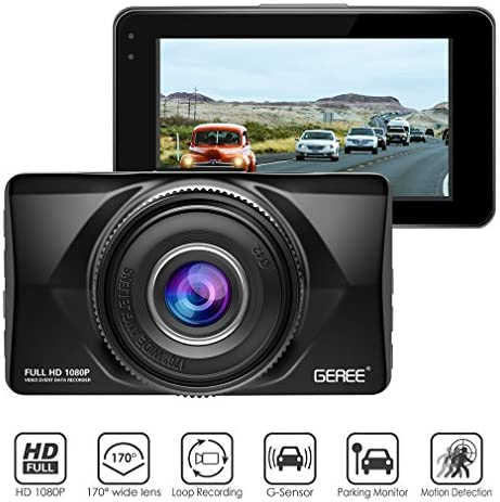Dash Cam, GEREE FHD 1080P 3 inch Screen Car DVR Dashboard Camera Recorder 170 Wide Angle Video Cameras Car G-Sensor, Parking Monitor, WDR, Loop Recording