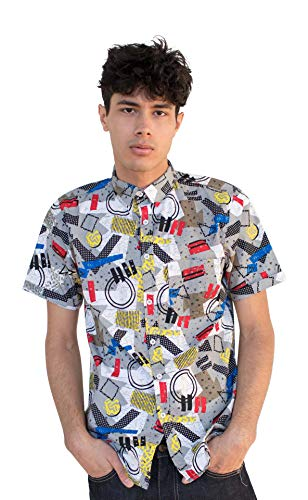 Ragstock Men's Casual Button-Up Icon-Printed Woven Shirts (X-Large, Grey-Wave)