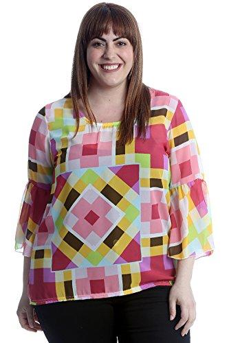 Abstract Print Chiffon Blouse Pink 18 ()