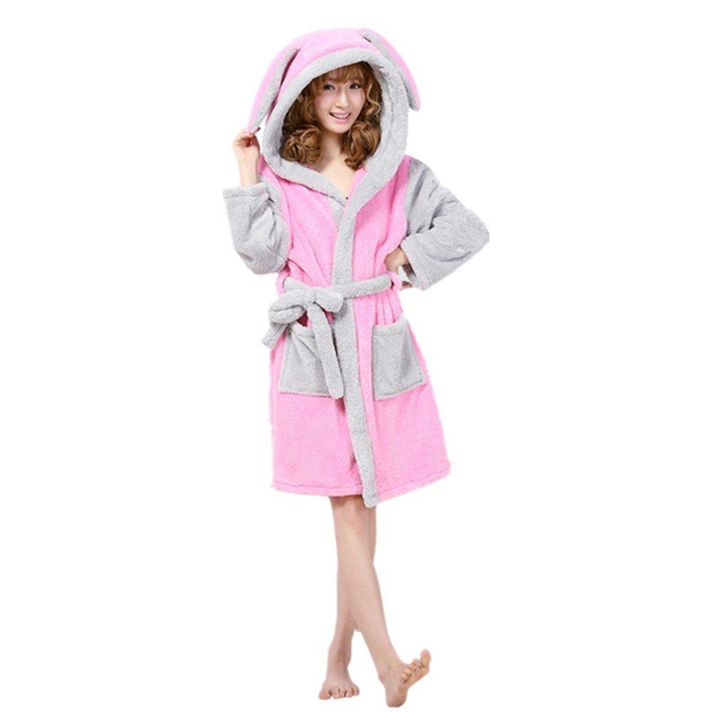 Woneart Damen Bademantel//Morgenmantel mit Kapuze Robe Nachtw/äsche Tier Kost/üme Pyjama Cosplay