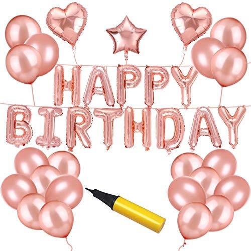 (Happy Birthday Balloons - Bikunana Rose Gold Party Decorations,Happy Birthday Banner,12