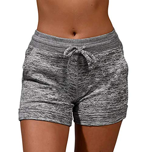 Suma-ma Womens Casual Drawsting Elastic Waisted Shorts, Ladies Loose Sports Active Short Pants Soft Pocket Sweatpant(Gray,L)