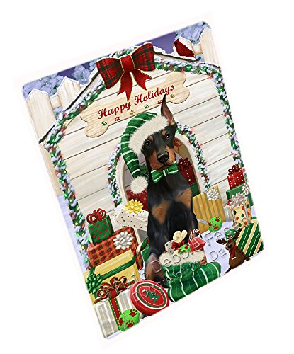 Doberman Pinscher Tapestry (Happy Holidays Christmas Doberman Pinscher Dog House with Presents Blanket BLNKT78897 (50x60 Fleece))