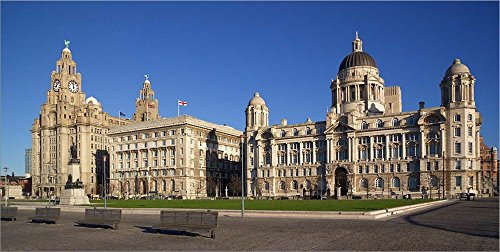 - Liver, Cunard, and Port of Liverpool Buildings, Liverpool, Merseyside, England by Paul Thompson/Danita Delimont Laminated Art Print, 59 x 30 inches