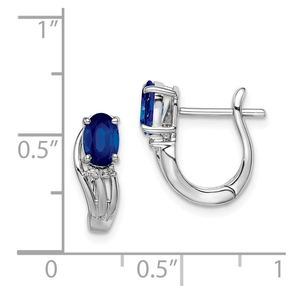 .02cttw Rhodium Plated Diamond and Sapphire Hinged Earrings 13mm x 13mm Mia Diamonds 925 Sterling Silver Solid