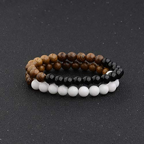 Dad Ring Onyx (Hebel Fashion Couples Bracelets Opal Onyx Wooden Beads Bracelets Women Men Bracelets | Model BRCLT - 30685 |)