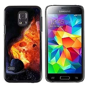 Paccase / Dura PC Caso Funda Carcasa de Protección para - Asteroid Exploding Star Sun Fire Universe Art - Samsung Galaxy S5 Mini, SM-G800, NOT S5 REGULAR!