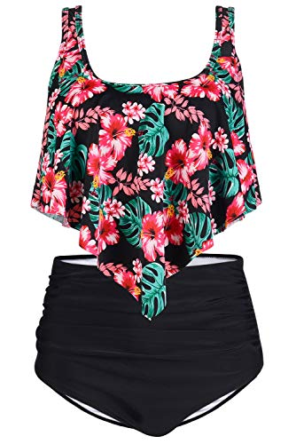 Byoauo Womens Swimsuits Two Pieces Ruffled Racerback Bikini Top with High Waisted Bottom Bathing Suits (XXL, Red Flower) ()