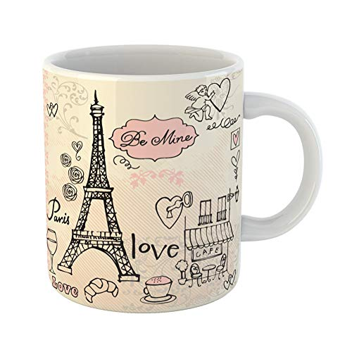 Emvency Coffee Tea Mug Gift 11 Ounces Funny Ceramic Pink Eiffel Love in Paris Tower Sketch Cafe Gifts For Family Friends Coworkers Boss Mug ()