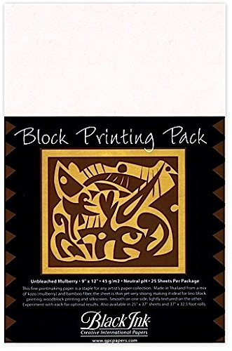 Black Ink Thai Mulberry Block Printing Paper Packs (Unbleached Mulberry) 1 pcs sku# 1843093MA