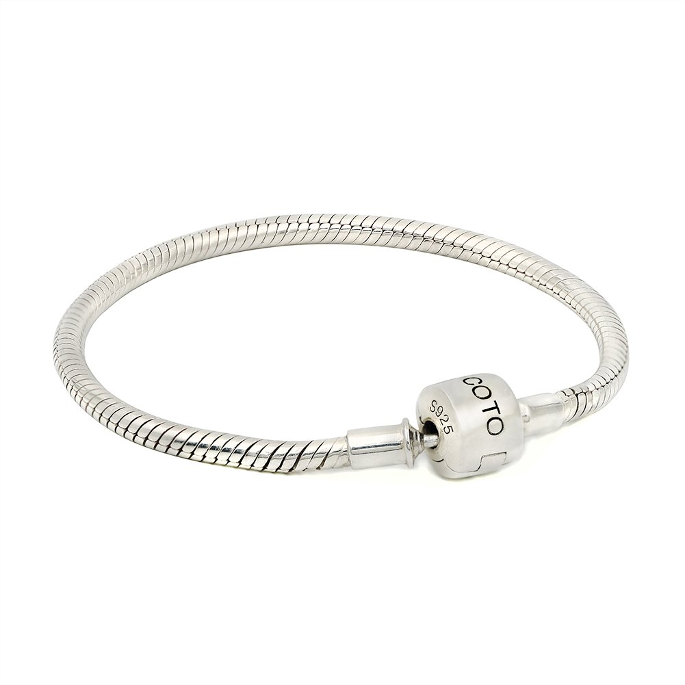 COTO 925 Silver Snake Chain Bracelet Fit Charm Beads DIY Fine Jewelry Creative Gifts For Women 8.7 Inch