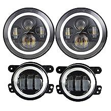 7inch Daymaker LED Headlights with White/Amber DRL Halo Ring + 4 inch LED Fog Lights for Jeep Wrangler 97-2017 JK TJ LJ