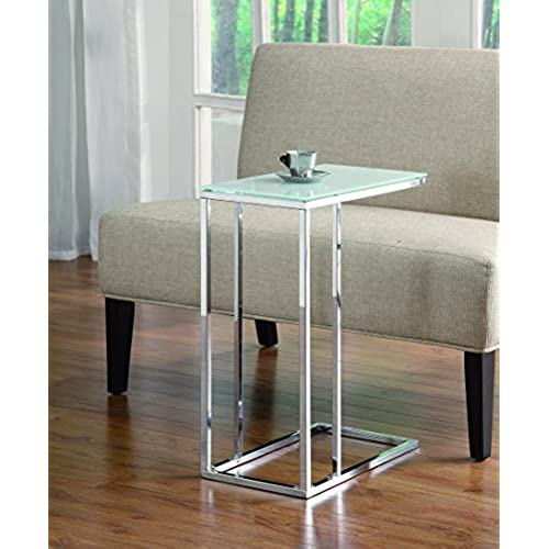 Coaster Transitional Chrome Snack Table With Frosted Tempered Glass Top