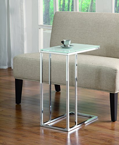 Glass Frosted Top (Coaster Transitional Chrome Snack Table with Frosted Tempered Glass Top)