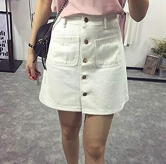 Mujeres Damas A-Line Lápiz Denim min Falda Jeans de Cintura Alta ...