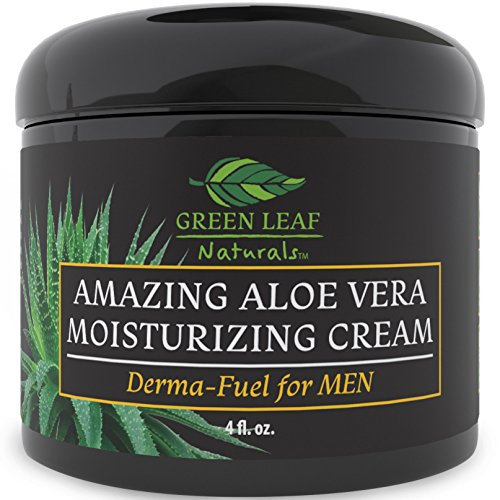 Amazing Aloe Vera Moisturizing Cream for Men - All Purpose Facial Skincare for All Skin Types - Natural and Organic Ingredients - Your Anti-Aging Face Moisturizer from Green Leaf Naturals (4 oz) (Green Aloe Plant Vera)