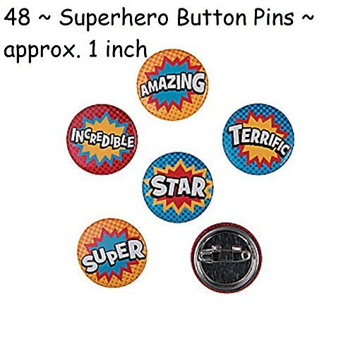 48 ~ Superhero Mini Buttons ~ New (Pin Superhero)