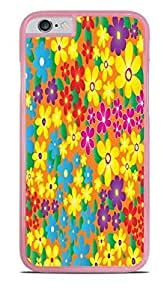 Yellow Blue Pink Purple Flowers Pink Hardshell Case for iPhone 6 (4.7)