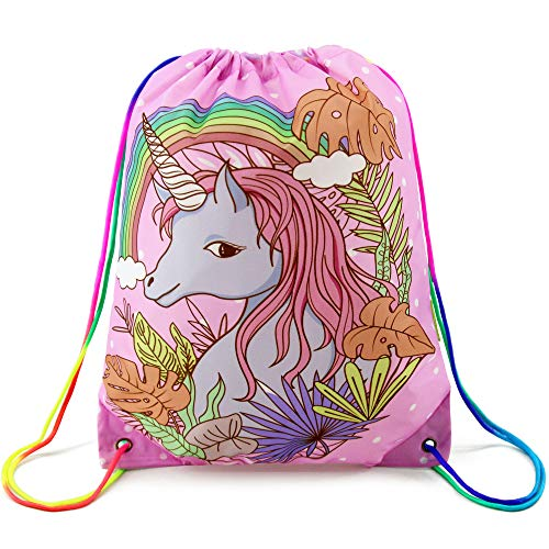 Unicorn Drawstring Bag Gym Sack Pack for Kids, Gift String Backpack Cinch Bag for School and Birthday Party