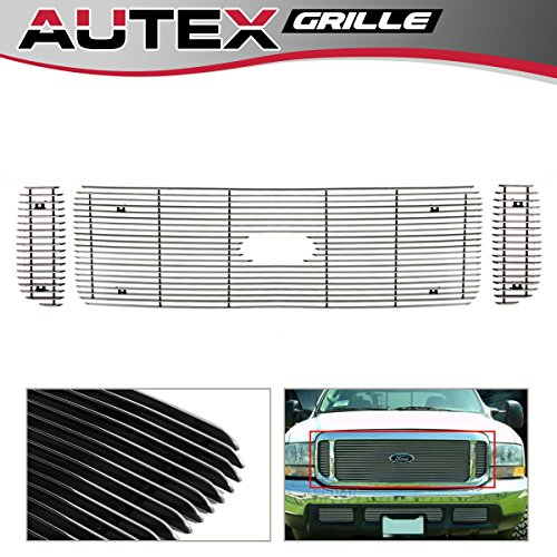 (AUTEX Polished Chrome Main Upper Billet Grille Insert Compatible with Ford F250/F350/F450 Super Duty 1999-2004,Excursion 2000-2004 Grill)