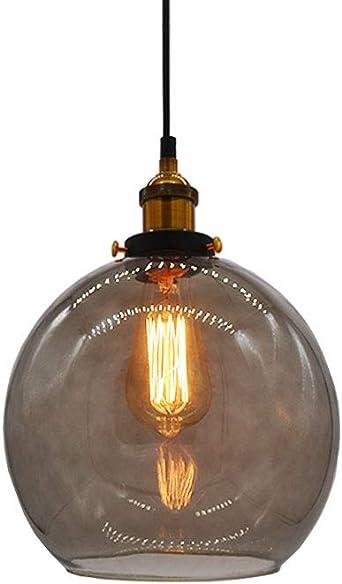 Comprar Huahan Haituo Vidrio Colgante Luz Vintage Industrial Metal Acabado Claro Bola de Vidrio Ronda Sombra Loft Lámpara Retro Techo Luz Vintage Lámpara (Gris Humo,20CM)