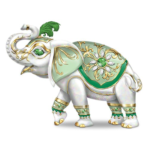 - The Hamilton Collection Good Fortune Elephant Figurine with Golden Filigree and Faux Gems