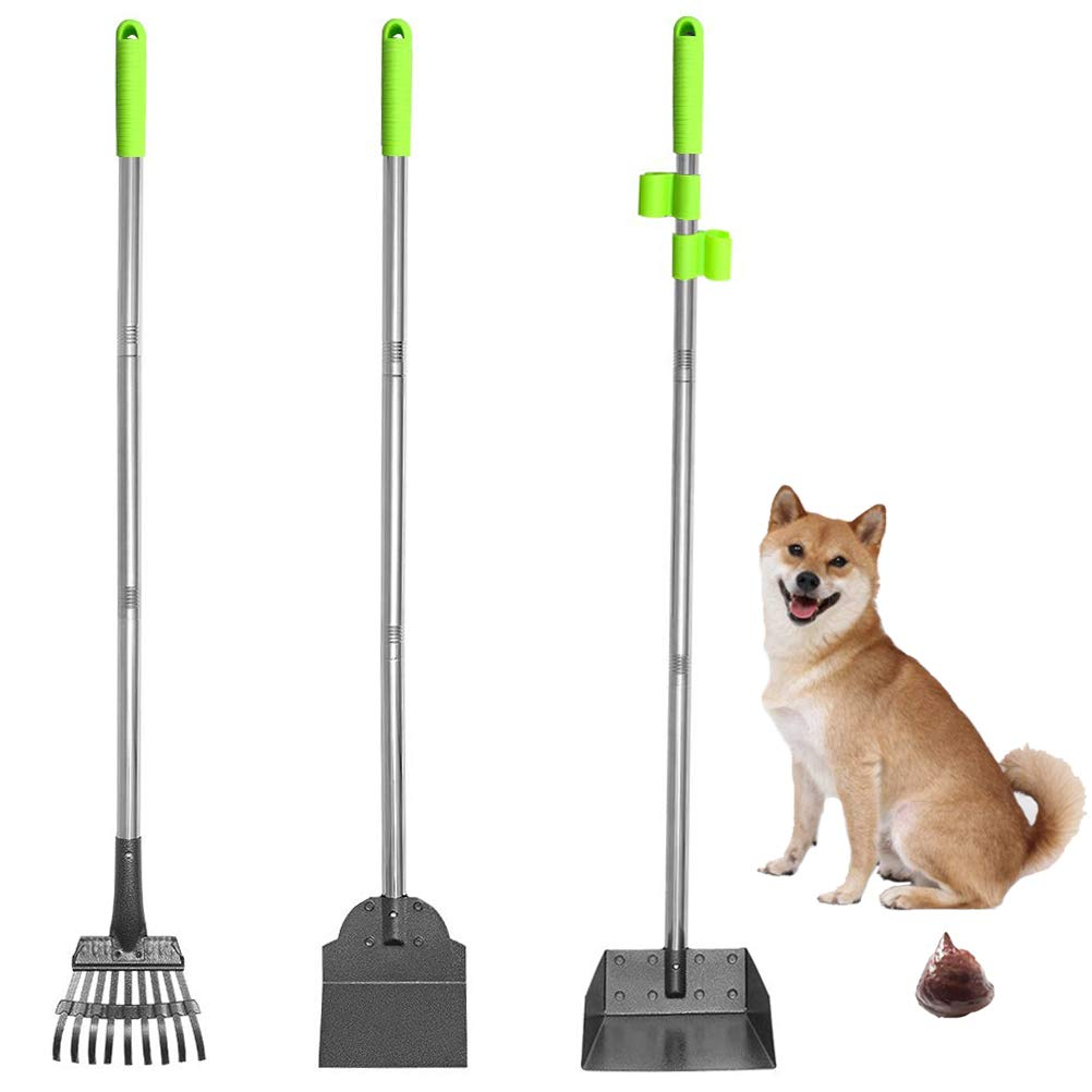 SCENEREAL Pet Poop Tray, Rake & Spade Set - Dog Metal Pooper Scooper with Detachable Long Handle Stainless Steel for House Yard Cleaning by SCENEREAL
