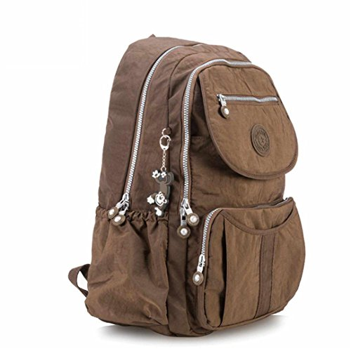 Chargi Female Backpack Female Solid Famous Nylon Leisure Laptop Backpack brown 27CMX13CMX37CM 1365 (Professional Grill Box Carry Bag)