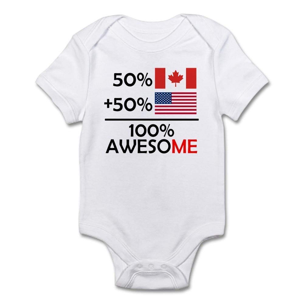 Half Canadian Half American One-Piece Infant Baby Bodysuit Baby Ballkleid