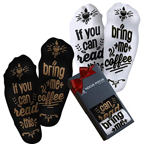 Funny Bring Me Coffee Socks - Novelty Coffee Gifts For Men and Women - Black and White