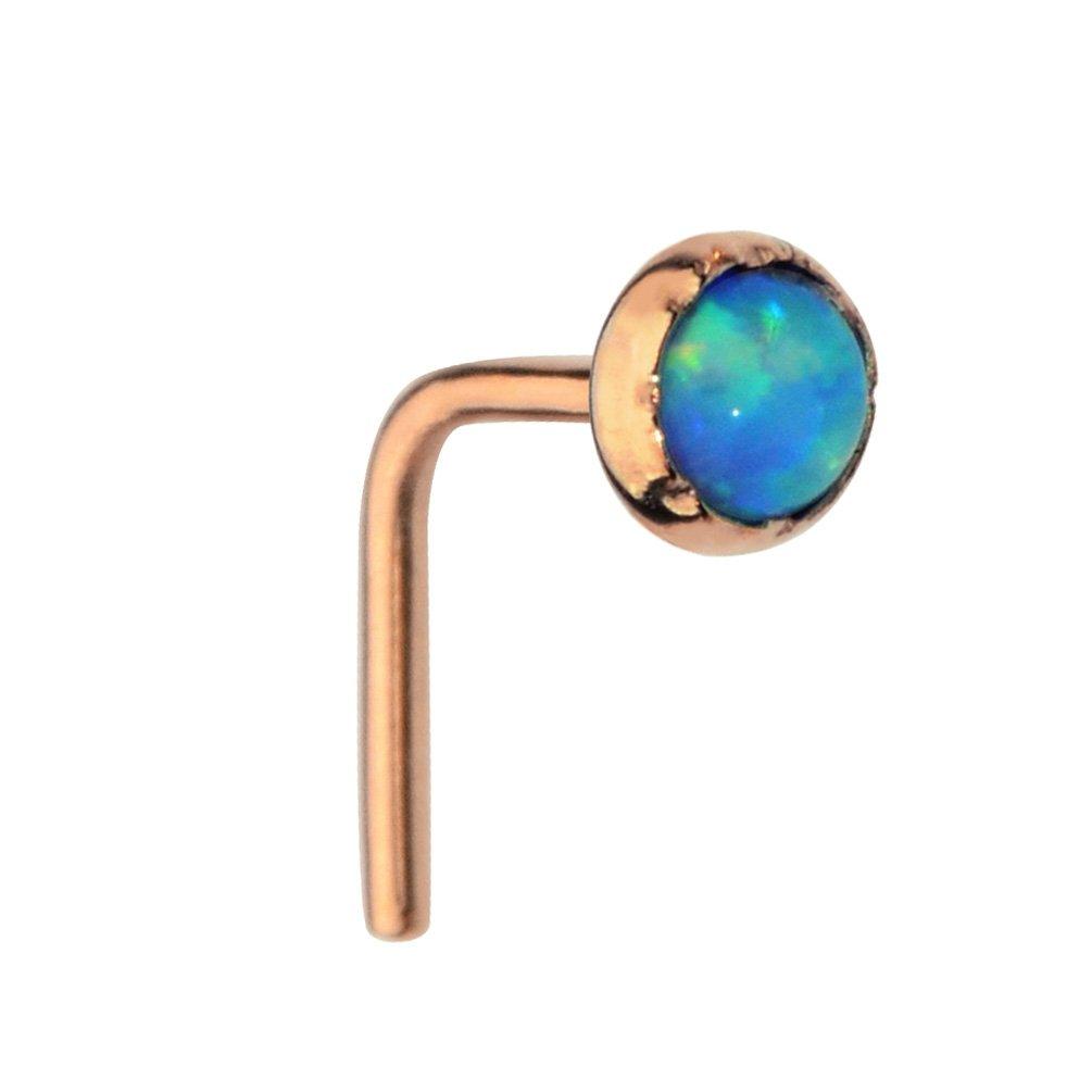 Sampson Nose Ring - Nose Stud - 14K Solid Rose Gold 18 Gauge Set With a 3mm Blue Opal