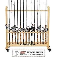 FISHINGSIR Fishing Rod Rack - 28 Wood Rod Holder with...