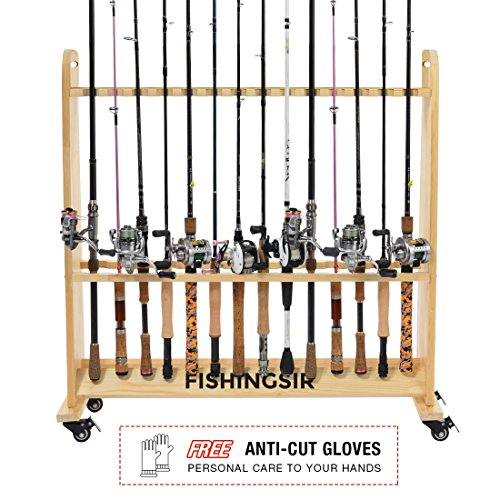 FISHINGSIR Fishing Rod Rack - 28 Wood Rod Holder with Wheels / 24 Aluminum Pole Stand Rod Storage Organizer for All Fishing Rods and Combos (Extra Cut Proof Gloves as Gift)