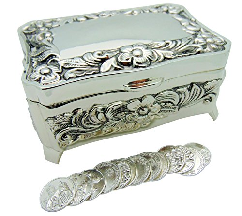 Arras De Boda Silver Tone Metal Box 4 Inches Long Wedding (4 Inch Coin Set)