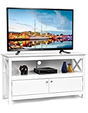 KOTEK Wooden TV Stand with Storage Cabinet & Shelf, TV Console Table for TVs up to 50'', Home Media Entertainment Center for Living Room, Bedroom