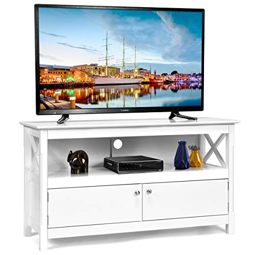 Tangkula Wood TV Stand, Modern Multipurpose Home Furniture Storage Console Entertainment Media Center (White) (Wood Tv Corner White Stand)