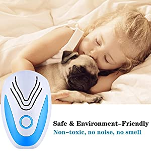 tichiqk Ultrasonic Pest Repeller, 6 Pack Electronic Mouse Control Repellent Plug in Indoor Reject for Rodent Mosquito Bug Spider Fly Ant, Safe for Child and Pet (Blue)