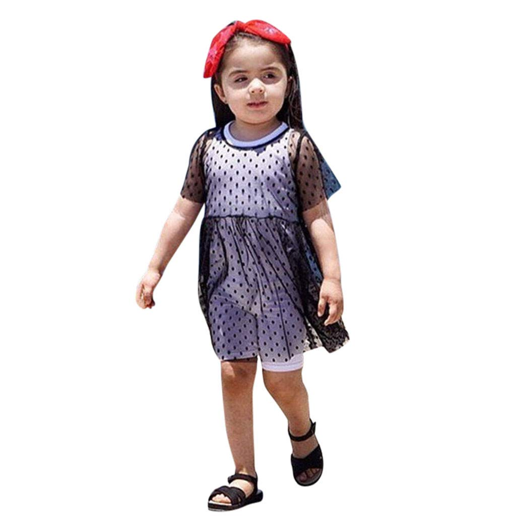 Hstore Toddler Kids Baby Girls Tulle Perspective Smock Princess Party Pageant Dresses