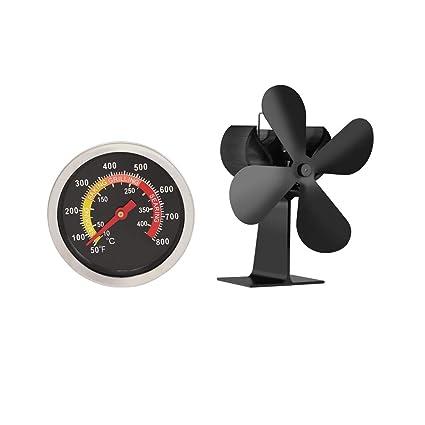 Homyl Ventilador de Estufa de Leña o Chimenea 4 Aspas Protección Medio Ambiente + Termómetro Parrilla