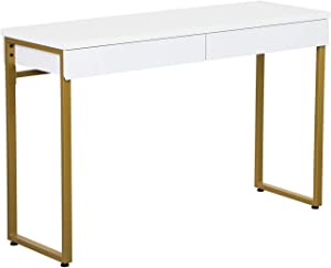 "GreenForest Vanity Desk 47"" Glossy White Makeup Table with 2 Drawers Modern Computer Console Table with Metal Bronze Legs for Living Room Entryway Hallways"