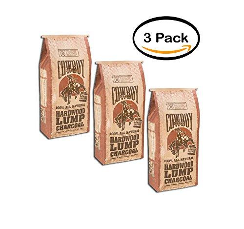 Best Lump Charcoal - PACK OF 3 - Cowboy 20 lb Hardwood Lump Charcoal