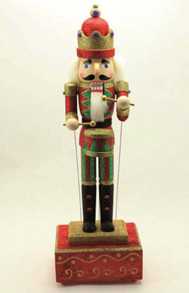 MusicBox Kingdom Big Wooden Nutcracker with Glitter Moves The Arms to The Tune of ''Nutcracker Suite'' Decorative Item by Musicbox Kingdom (Image #2)