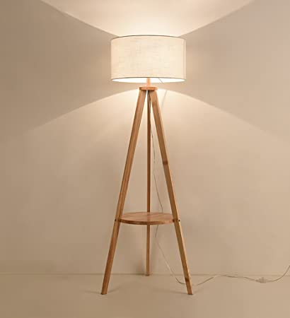 YANZHEN Lámpara de pie de madera maciza Sala de estar ...