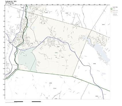 Amazon.com: ZIP Code Wall Map of Lebanon, NH ZIP Code Map ... on