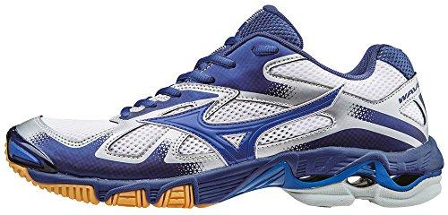 Mizuno Herren Wave Bolt Volleyballschuhe, Bleu/Jaune/Blanc Bianco (White/Dazzlingblue/Twilightblue)